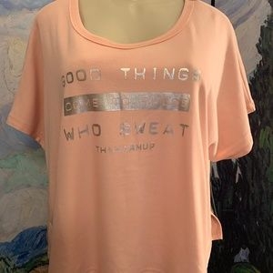 Jessica Simpson The Warm Up Pink Short Sleeve Top